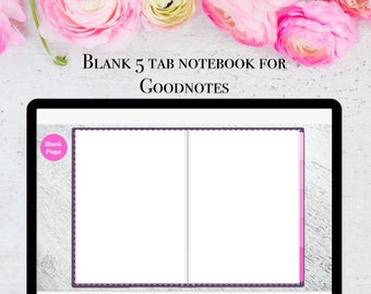 Minimalist blank 5 subject tabbed Goodnotes notebook, digital notebook with five hyperlinked tabs, two pages per view - instant downlo