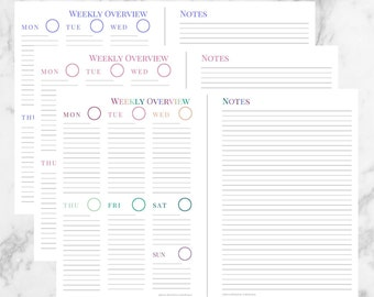 Bundled - 3 Printable Week on One Page with Notes Planner Insert for A5 Planners - Instant Downloadable Weekly Planner