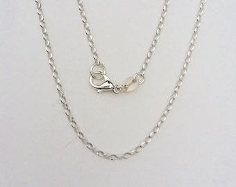 "Sterling Silver Oval Cable Chain, 24"" Sterling Silver Chain, 1.8 mm Sterling Silver Cable Chain"