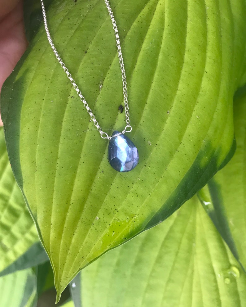 Natural Sapphire Gemstone Necklace Reiki Charged Blue Sapphire Crystal Necklace Sterling Silver