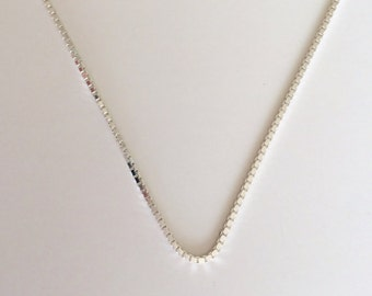 "Sterling Silver Box Chain, 18"", 20"" Sterling Silver Necklace, 1.0mm Sterling Silver Box Chain"