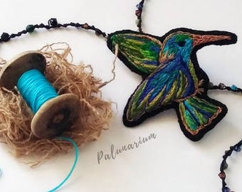 HUMMINGBIRD Statement necklace, Hand embroidered pendant, Exclusive Necklace Y, Design jewelry, Hand embroidered, bird jewelry, unique gift