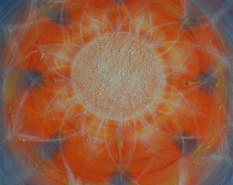 "Original hand painted modern abstract painting ""Mandala of Light"" - acrylic paint with textures - Katerina Machytkova"