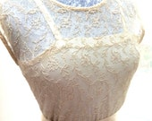 Really amazing Edwardian tambour ( embroidered) lace skirt and over-dress, creamy colour. Approx sz 10 and ankle length. Includes satin slip