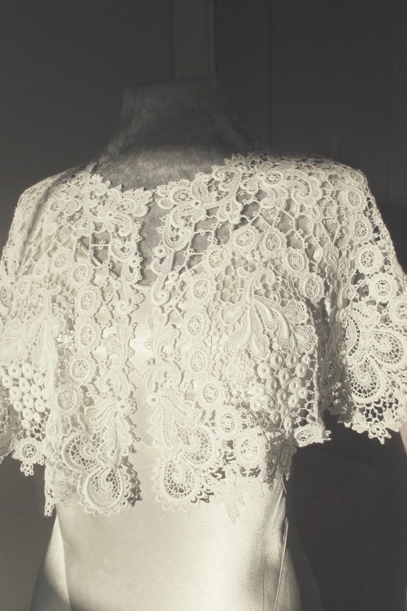 Antique 1900s schiffli lace cape, Edwardian or Vic