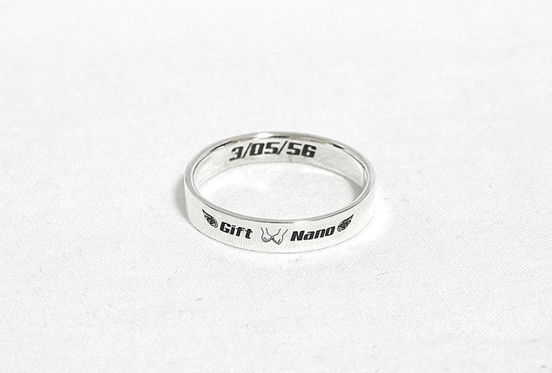 Stackable Name Ring Personalized Ring 3 mm Wide Personalized Stacking Rings Mothers Ring Stackable Ring Name Ring 925 Sterling Silver