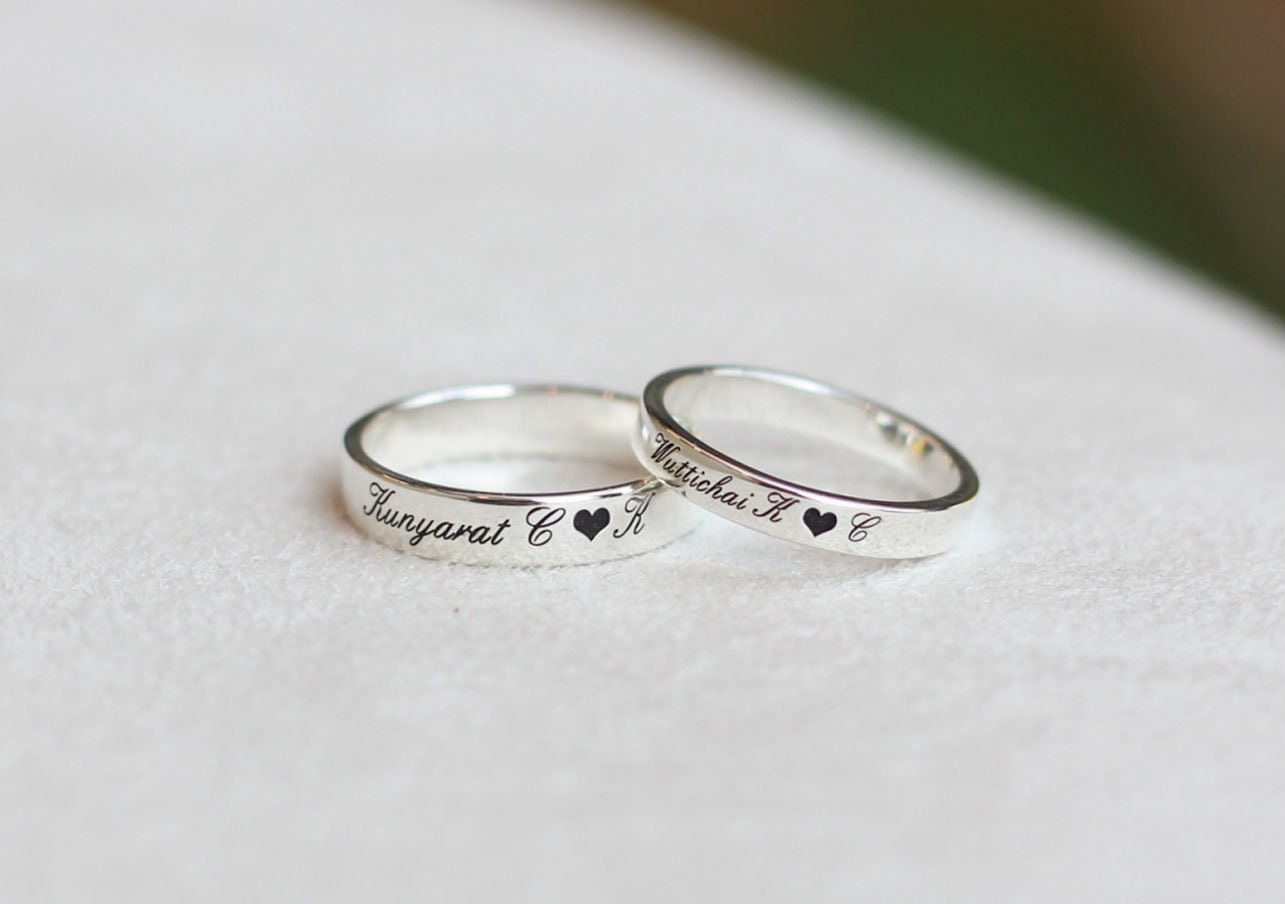 personalized rings stamped rings his and her promise rings. Black Bedroom Furniture Sets. Home Design Ideas