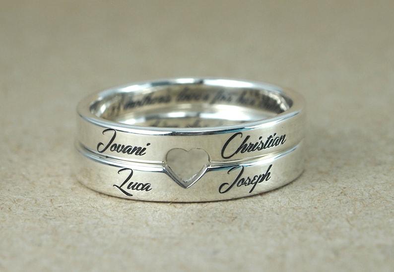 0b09901728 Anillo de pareja su y suyo anillo del corazón personalizado | Etsy