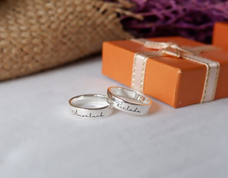 matching promise rings custom engraved ring engagement ring image 0