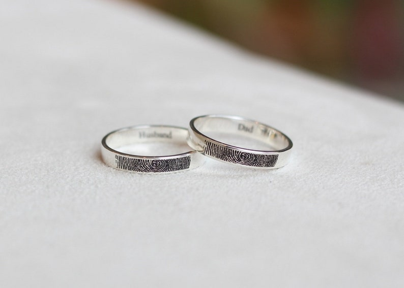 Personalized Fingerprint Jewelry Actual Fingerprint Ring Personalized Fingerprint Band Engagement Ring 4mm Sterling Silver Engraved Ring