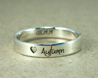 Drill Heart Ring, Personalized Rings, Promise Rings For Couples, His and Hers, Promise Ring, Mother Ring, Name Ring, Wedding Ring