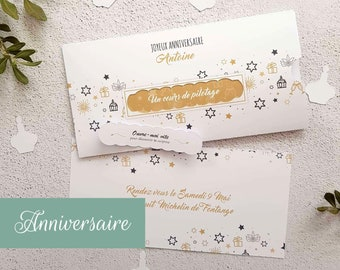 Customizable Birthday Gift Pocket for voucher, concert tickets, voucher or gift voucher to slip and its detachable tongue