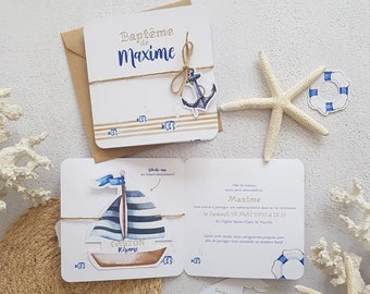 Share of Baptism marine theme, small boat, sea, small foam with its cardboard answer included