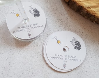 Personalised glass labels for winemaking, wine tasting or private wine sales and clean white theme champagne