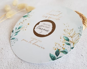 Envelope + Round scratch card request witness neutral floral theme green and imitation gold