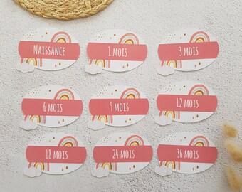 9 Rainbow-themed baby wardrobe shelf labels ROSE Candy