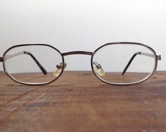 459edee3d6 Vintage Unisex Silver Toned Optical Eyeglasses 1.75 Unusual Shaped Frames