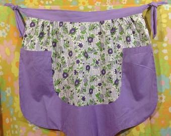 Vintage Purple Floral Half Apron