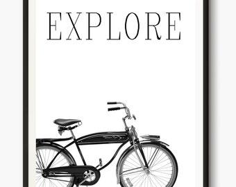 Bicycle Poster, Cycling Art, Bicycle Art, Modern Print, digital art, Bike Print, Inspirational quotes, Nordic Wall Art, Office Decor