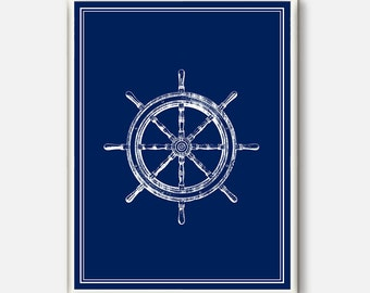 Ship Wheel Nautical Decor ,Coastal Decor Beach , Coastal Wall art, Captains Wheel, Nautical Wall Decor, Blue Nautical Decor Art Print