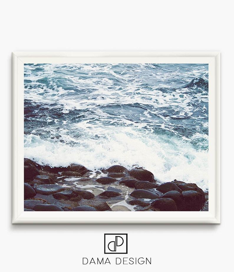Sea prints Sea foam Art ocean foam photo pebble beach Wall image 0