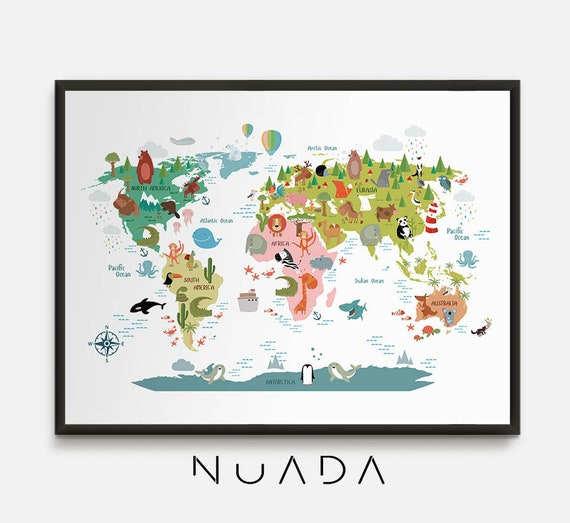 Animal World Map Kids World Map Animal Map World Map For Etsy