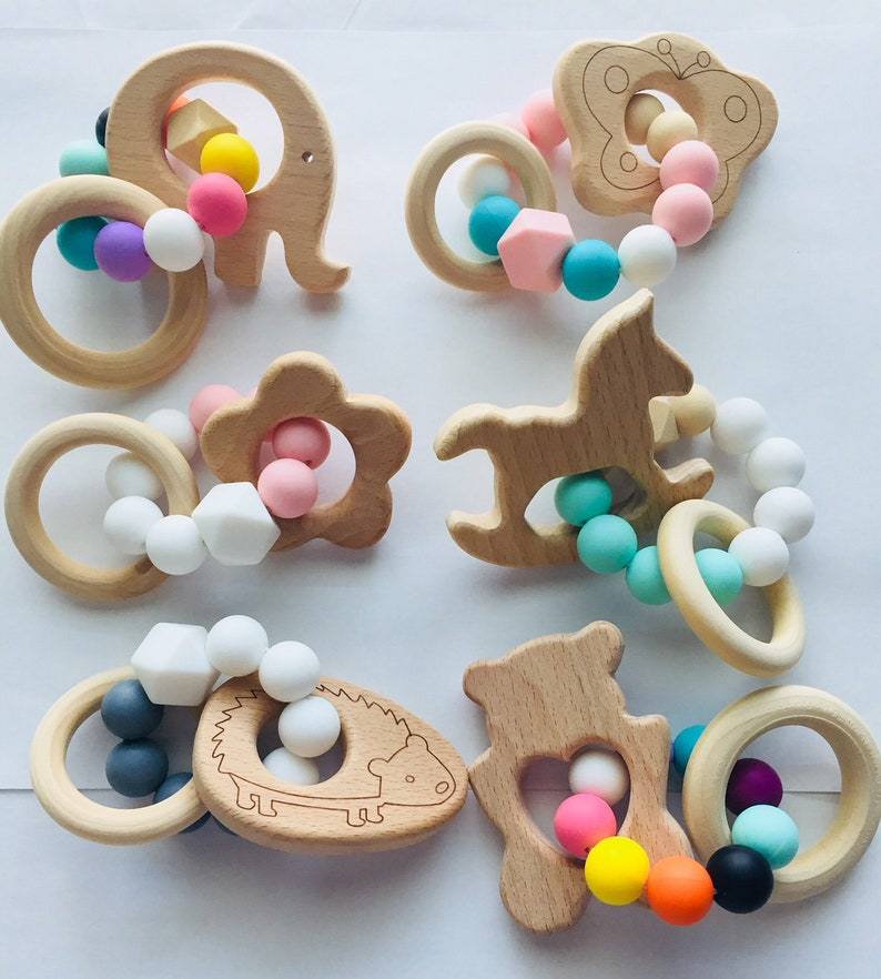 Wooden Baby Teething Ring Beech Wood /& Silicone UK Seller Baby Shower Toy