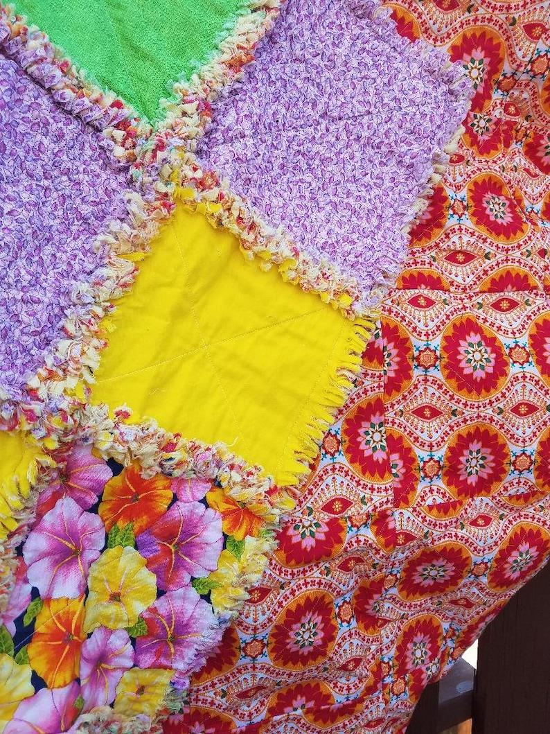 Green Yellow Lavender Floral Blanket Rag Quilt Blanket Throw