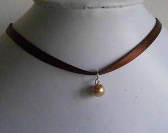 Adult/child Brown satin ribbon and beige pendant wedding necklace
