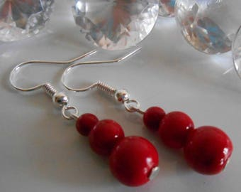 Trio of Red passion pearls wedding earrings