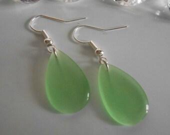 Green bean drop earrings