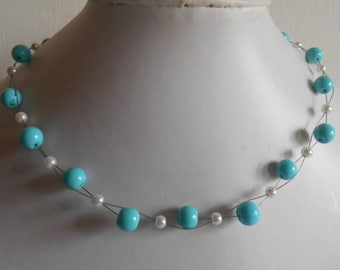 Bridal twist of white and turquoise beads