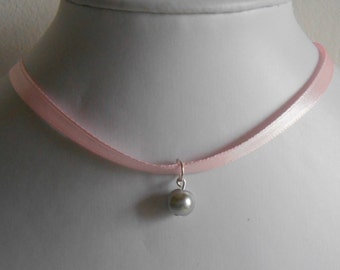 Marriage adult/child pale pink satin ribbon and grey pendant necklace