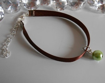 Adult/child Brown satin ribbon and green pendant wedding bracelet