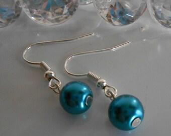 Wedding earrings peacock blue pearls