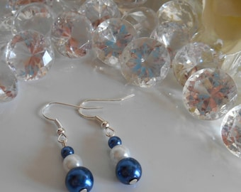Wedding earrings Royal Blue and white beads