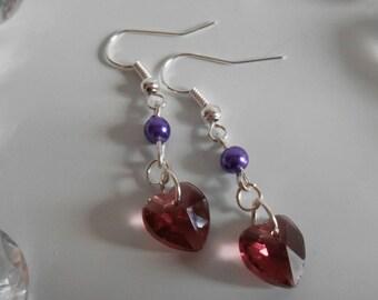 Purple Heart and purple pearls earrings