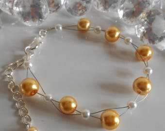 Wedding bracelet twist beads yellow and white gold