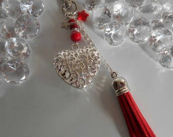 """Bag charm / key """"Proof of love"""" Red"""