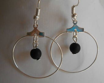 Mini hoops with their black beaded heart