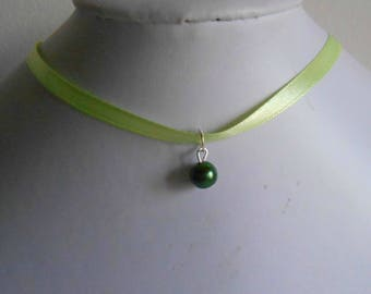 Wedding necklace adult/child pendant dark green and lime green satin ribbon