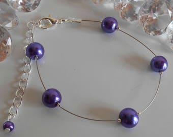 Simplicity wedding bracelet purple beads