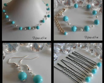 Set of 4 wedding pieces twist of white and turquoise beads