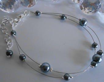 Bracelet wedding 2 row gunmetal grey pearls