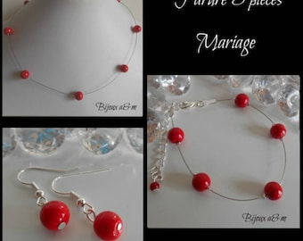 Set of 3 wedding pieces simplicity red passion pearls