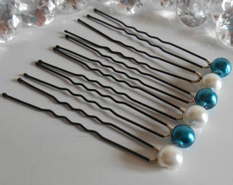 Set of 6 wedding hair pins white and blue Peacock beads