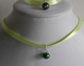 Wedding set adult/child pendant dark green and lime green satin ribbon