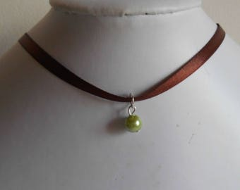 Adult/child Brown satin ribbon and green pendant wedding necklace