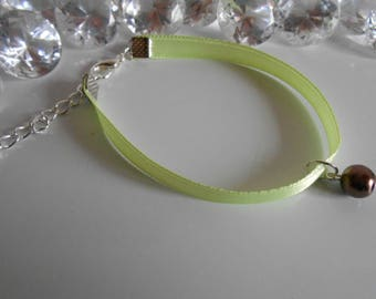 Wedding bracelet adult/child pendant chocolate brown and lime green satin ribbon