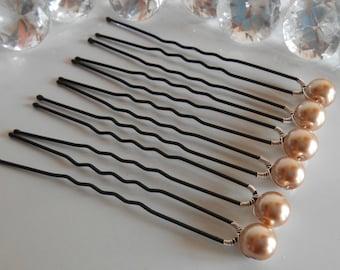 Set of 6 hair wedding beige pearls